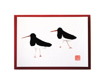 Chan Ink Painting 'Oyster Catchers' Art Card