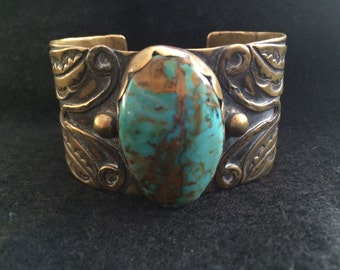 Santo Domingo Bracelet by Tony Aguilar, Brass and Turquoise