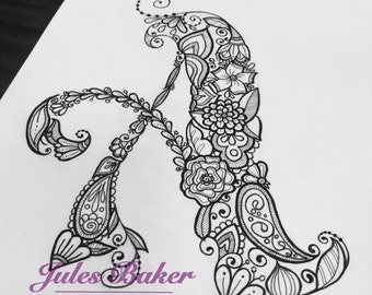 "Digital Coloring Page - Letter A from ""Letter Doodles"" Coloring Book"