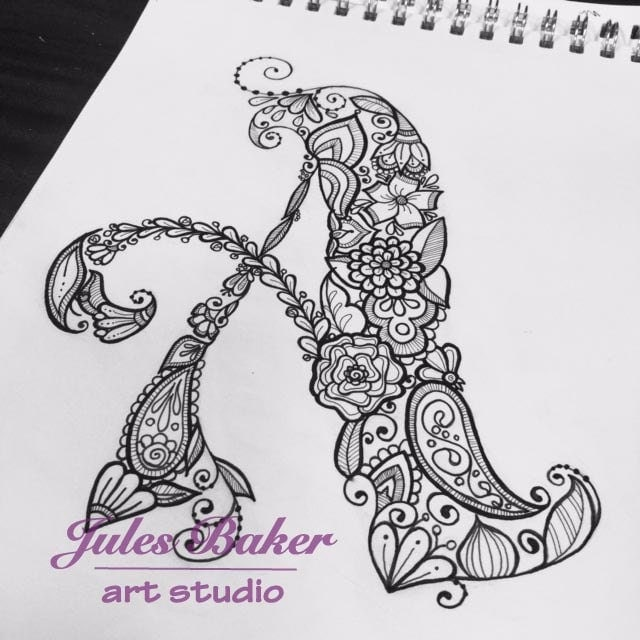 Digital Coloring Page Letter A From