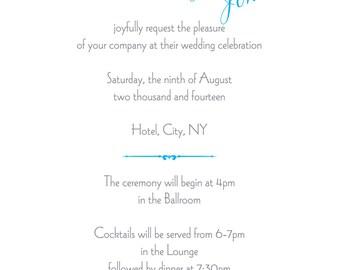 Printable Malibu Blue 5x7 Wedding Invitation