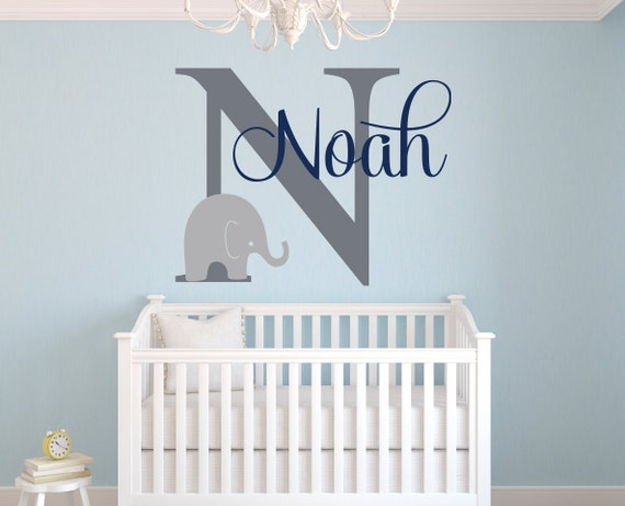 Name wall decal elephant wall decal elephants baby boy for Funny elephant wall decals for nursery