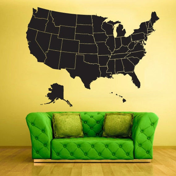 United States Map Wall Decal USA Map Decal By PinkiePeguinShop