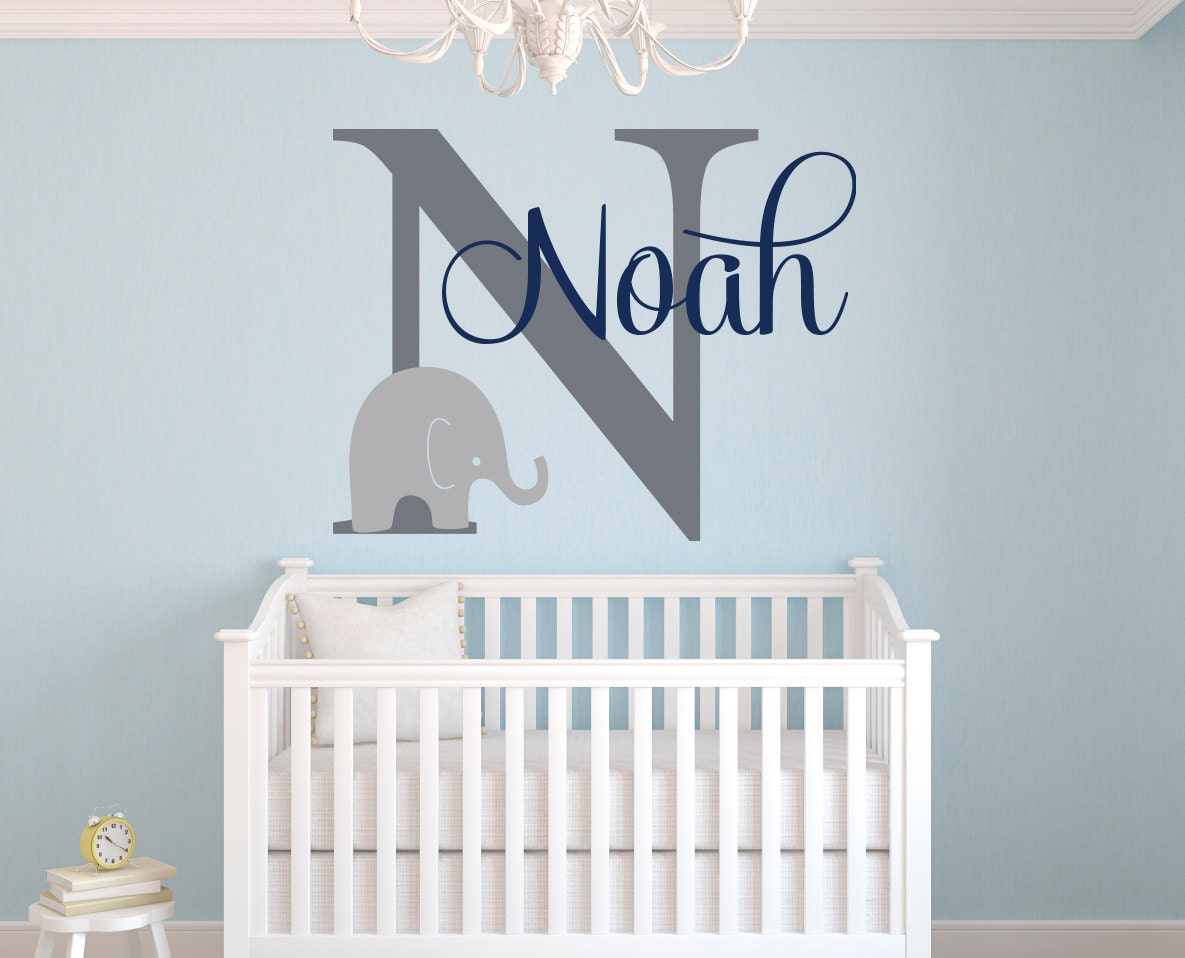 Name wall decal elephant wall decal elephants baby boy for Baby boy wall mural