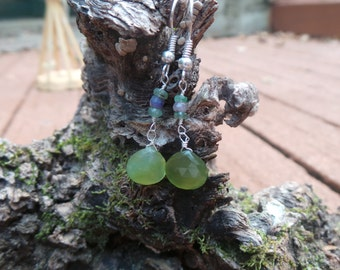 Chalcedony, Emerald and Sapphire Dangle Earring