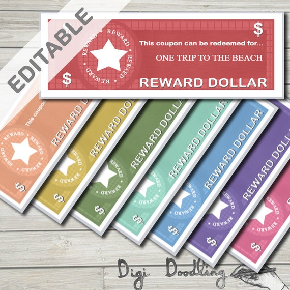 Editable Child Reward Coupons