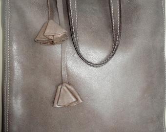 Leather Bag Capuchino Color, Leather Tote Bag, Large, CarryAll, Shoulder Bag,  Shopping Bag, Handbag,