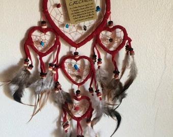 Catcher dreams - Dream Catcher - heart red, velvet and stones
