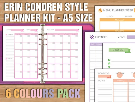Erin Condren style printable planner kit A5 size