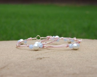 The Princess Collection, Wire Wrapped Bracelet, Pearl Bracelet, Pink Bracelet, Periwinkle Pearl Bracelet, Handmade, Handmade Bracelet, Pearl