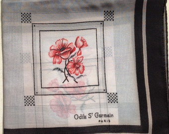 Vintage scarf by Odile St Germain Paris - Printed chiffon - perfect condition - Free UK Postage