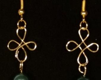 Green Pearl Four Leaf Clover Wire Wrap earrings