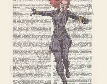 Marvel's Black Widow on dictionary page print