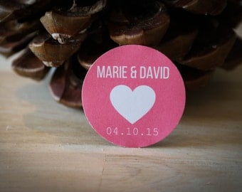40 self-adhesive labels custom - first names of the bride and groom + date