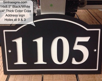 """Arched House Number Sign Address Plaque 14x8.5""""  1/4"""" King ColorCore Black/White"""