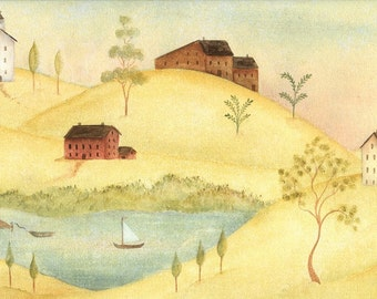 Primitive Houses, Folk Art Painting, Country Homes on the Hillside, Country Sailing,Country Art Print by Artist Beth Stephens