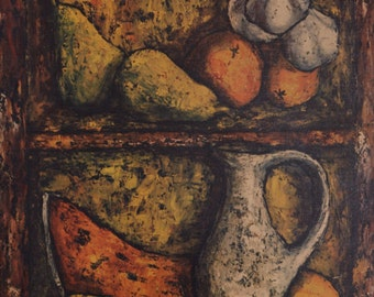 SALE * J.MARQUE (1900, French painter), abstract art, still life with fruit, high quality canvas print into the frame, vintage, gift