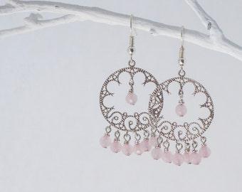 Light pink earrings, Pink wedding earrings, Natural quartz earrings, Pink round earrings, Round chandelier earrings, Pale pink earrings