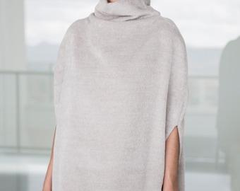 Grey Wool Cape Coat