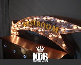Directional Restroom Arrow Marquee Light (Horizontal)