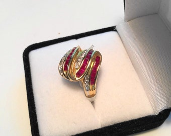 14kt Gold Natural Ruby & Diamond Swirl Ring.