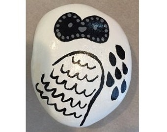 Black & White Owl Painted Rock