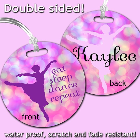 Dance Bag Tag, Personalized Ballet Bag Tag, Dancer's Bag Tag, Girl's Bag Tag, Double Sided Personalized Bag Tag,