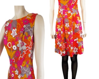 60s/70s Sleeveless Shift Dress Bright Bold Abstract Floral Pattern Metal Zip Handmade UK 8