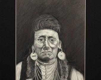 Original Fine Prison Art - Native American Figure Portrait Drawing - Chief Joseph, Nez Percé