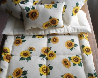 "Sunflower Doll Bedding, Doll Bedding, 5 Piece Doll Bed Set, 18"" Doll Bedding, Doll Comforter, Doll Blanket Doll Pillow, Doll Bedding Set New"