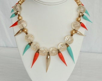 Colorful 1950's Style Statement Necklace with Vintage Materials