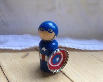Marvel Captain America Steve Rogers peg doll