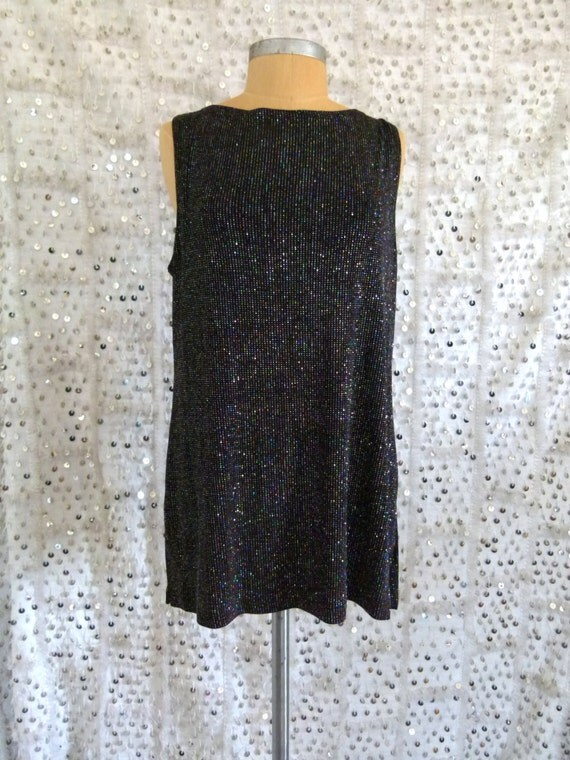 The Discotheque Dress 90s Black Glitter Tunic- Grunge; Sparkles; Dress; S/M/L