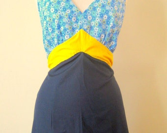 Blue and yellow apron