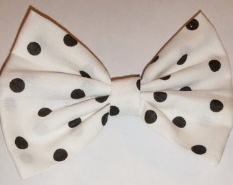 Black and White Polka Dot Hair Bow with Clip