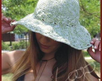 Crochet Summer Hat, Sun Hat, Summer Hat, Women's Hat, Boho Style Hat, Wired Hat, Wired Brim, Handmade Hat, Cotton Hat, Green Hat, Beach Hat