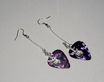 Guitar Pick Earring - Purple Pearl Guitar