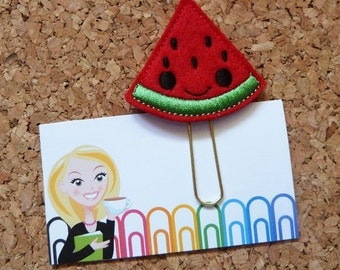 Refrigerator Magnet | Felt Planner Clip | Felt Watermelon Bookmark | Paper Clip |  Cute Brooch Pin | Planner Accessory | Filofax | 411