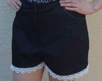 Jean shorts with embroidered trim, high waisted shorts, vintage denim shorts, denim shorts