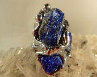 LAPIS LAZULI BRASS Ring (Adjustable)