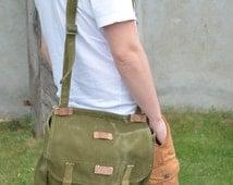 Vintage Military Shoulder Bag / Army Canvas Messenger Bag/ Green Heavy Duty Canvas Army Bag / Cross Body Bag / Unisex Military Haversack