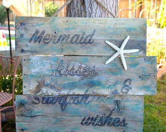 Mermaid Kisses & Starfish Wishes Pallet Sign