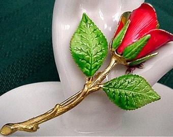 Red Rose Enamel Brooch