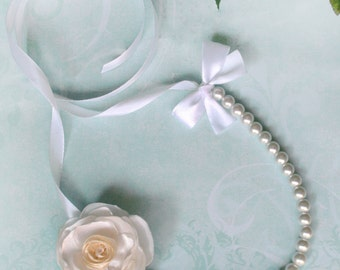 Pearl Ribbon Necklace with White Silk Flower - Bridal Bridesmaids - Wedding Gift Accessory - Many Colors - Ready to Ship