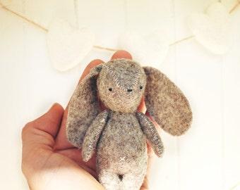 Easter Bunny Rabbit feltie Handmade Soft Sculpture Pocket Friend woodland Nursery Decoration Hand stitched 100% wool felt WhatACurlyLife