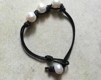 Three Freshwater Pearl Leather Bracelet