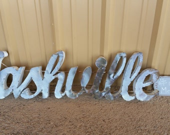 """Nashville Metal Sign Wall Decor  45""""x 12"""" inches"""