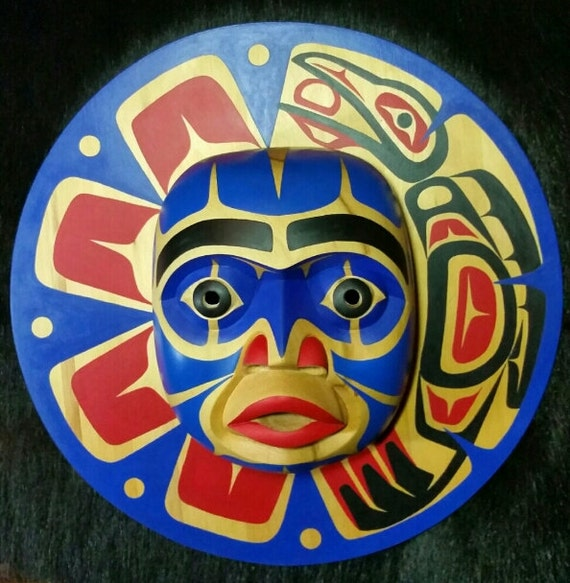 Bella Coola Sun Mask Hand Carved Yellow Cedar Nuxalk
