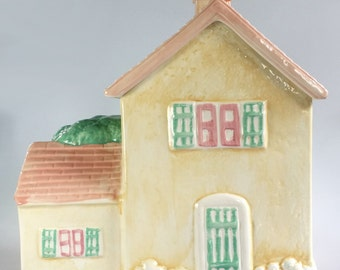 Hand Painted Ceramic Cottage House Cookie Jar Vintage Huge 11.5 x 11.5 x 7 in