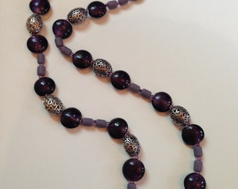 Purple Glass and Antique Silver  Beaded Necklace